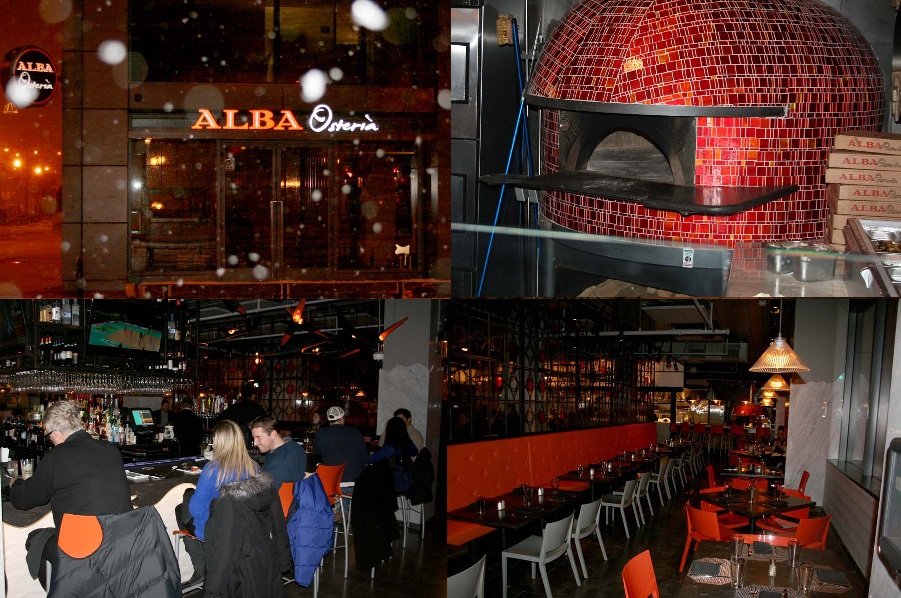 Alba Osteria (clockwise from upper left) opened in the Mount Vernon Triangle area Dec. 30.  It has a wood-burning oven from Naples, industrial dining room and bar in the center of the restaurant. (Photos: Mark Heckathorn/DC on Heels)