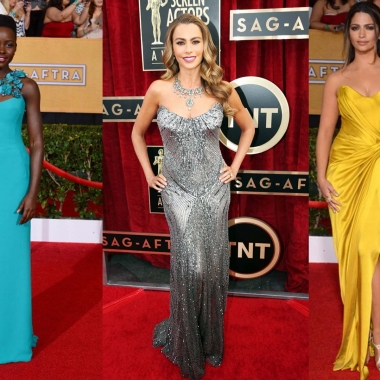 Lupita Nyong'o, Sofia Vergera and Camila Alves (left to right) on the red carpet at the 2014 Screen Actors Guild awards. (Photo: SAG)