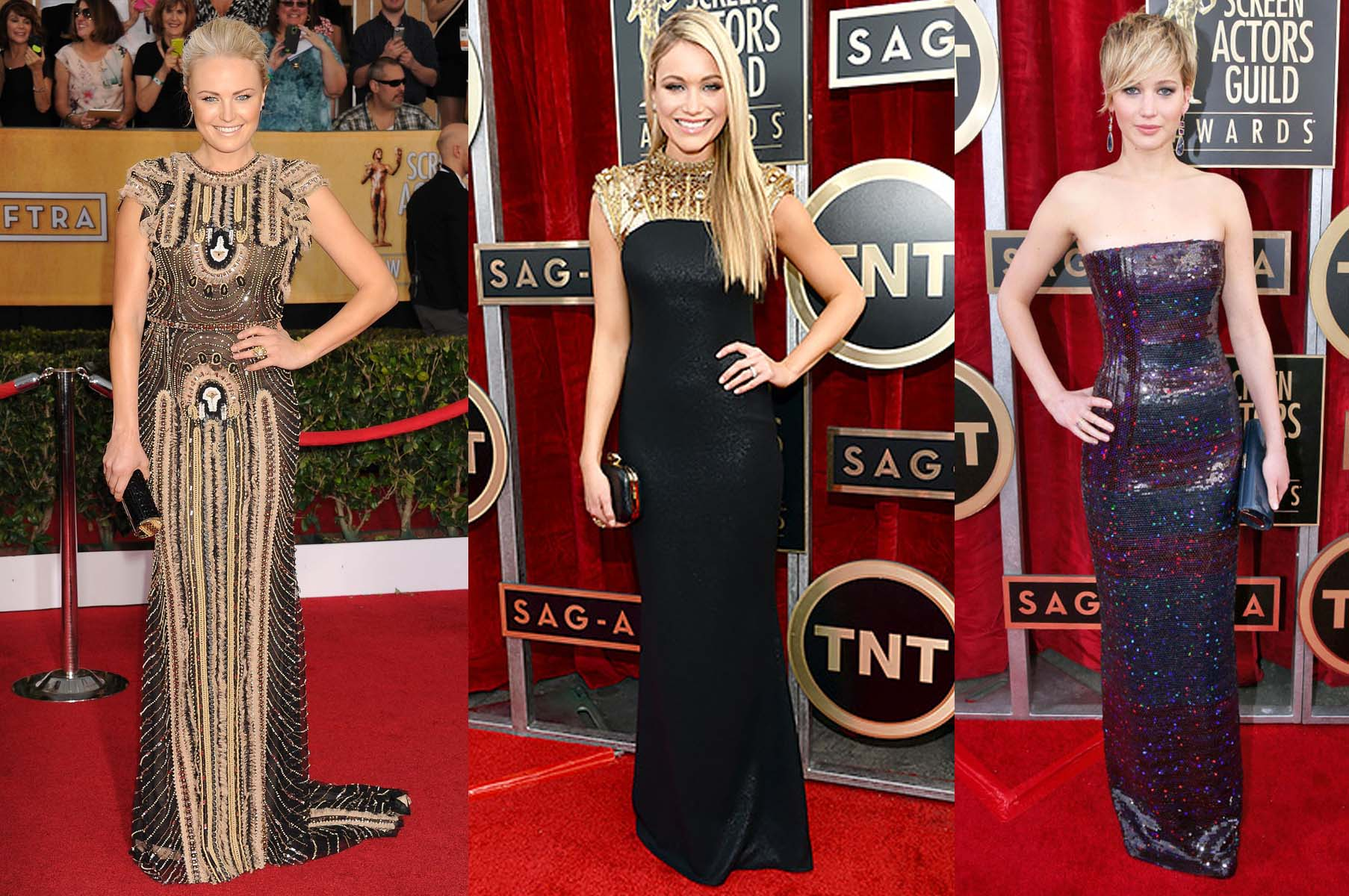Malin Akerman, Katrina Bowden and  Jennifer Lawerence (left to right) at the 2014 SAG awards. (Photo: SAG)