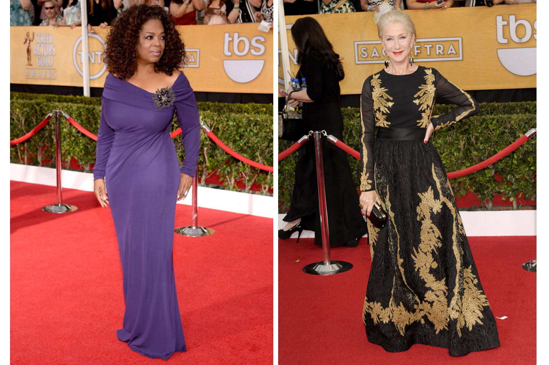 Oprah Winfrey (left) and Helen Mirren (right) at the Screen Actors Guild awards. (Photo: SAG)