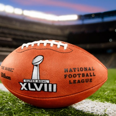 The Super Bowl XLVIII footballs in MetLife Stadium. (Photo: NFL)