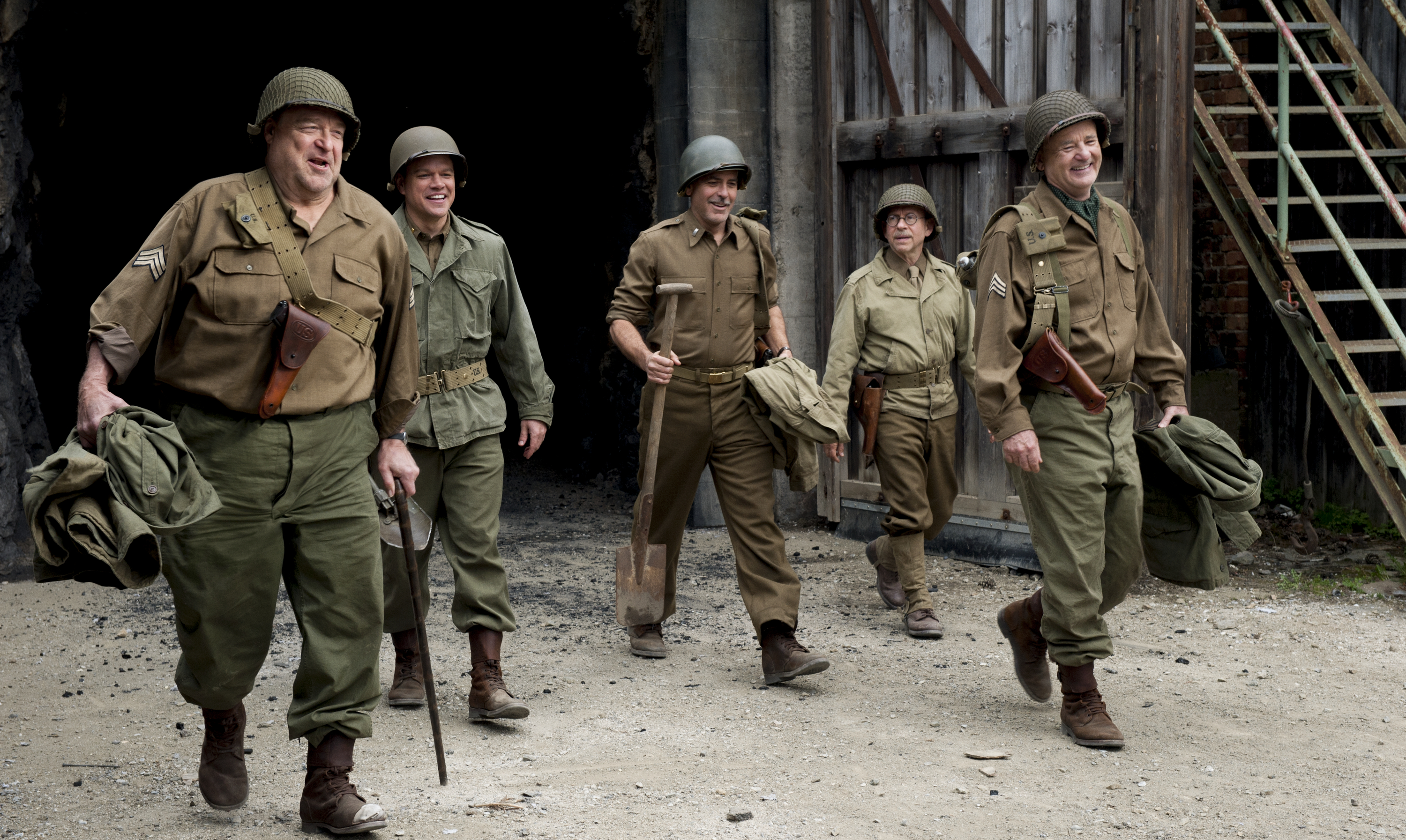 John Goodman (l to r), Matt Damon, George Clooney, Bob Balaban and Bill Murray leave a mine containing stolen artwork in The Monuments Men. (Photo: Sony Pictures)