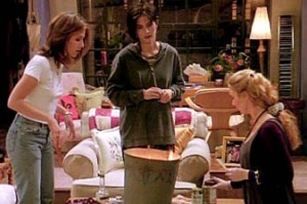 The ladies of Friends burn momentos of ex-boyfriends. (Photo; Guest of a Guest)
