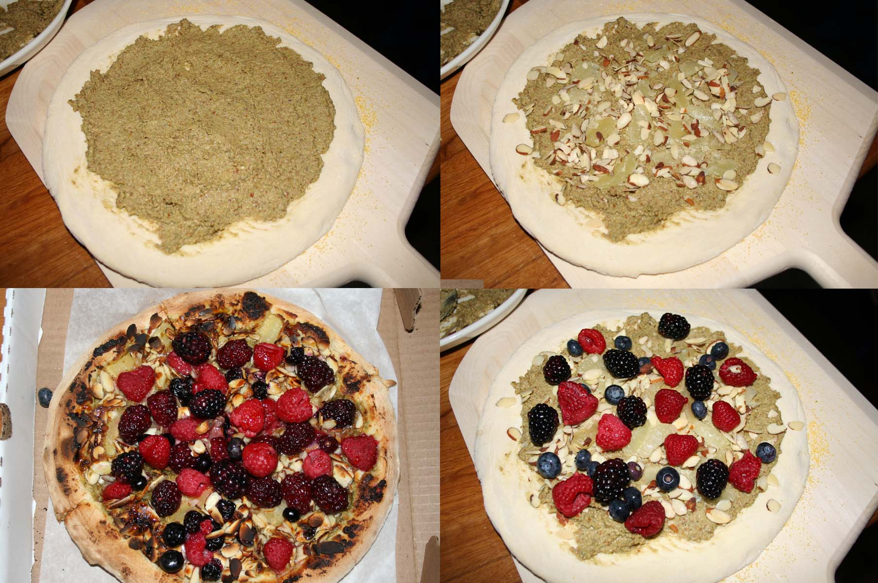 My berry pizza (clockwise from upper left) with the almond pesto, with the lemon supremes and sliced almonds, with berries waiting to go into the oven and the finished product. (Photos: Mark Heckathorn/DC on Heels)
