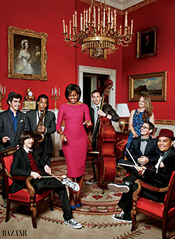 First Lady Michelle Obama wears L'Wren Scott in Harper's Bazaar (Photo: Harper's Bazaar)
