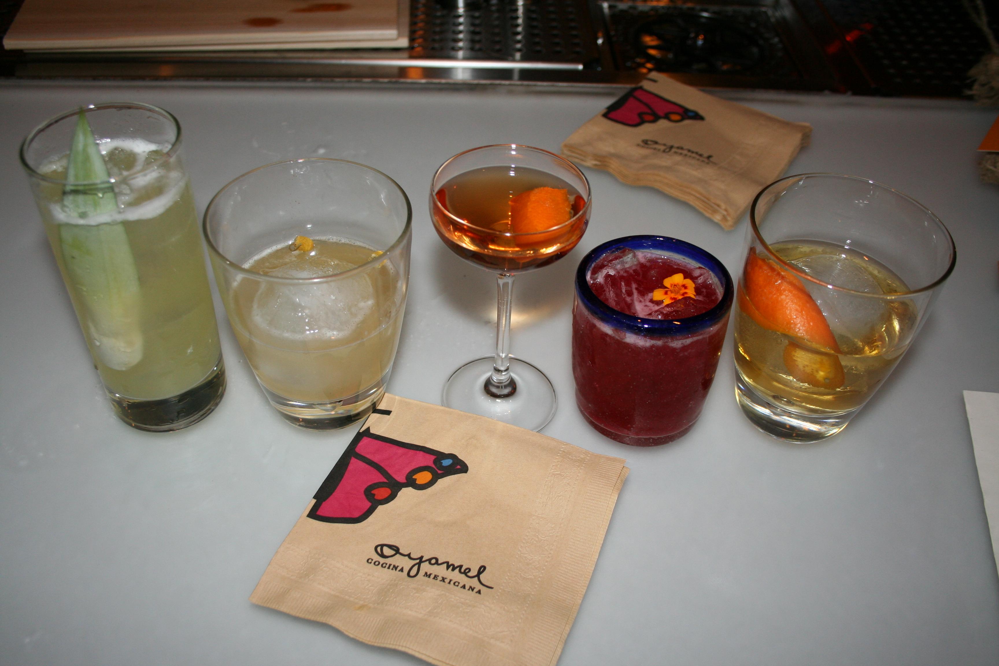 Drink specials include (l to r) the miramar, the naranja dulce limón partido, the el jaracho, the rosa de oaxaca and the agave en leña. (Photo: Mark Heckathorn/DC on Heels)