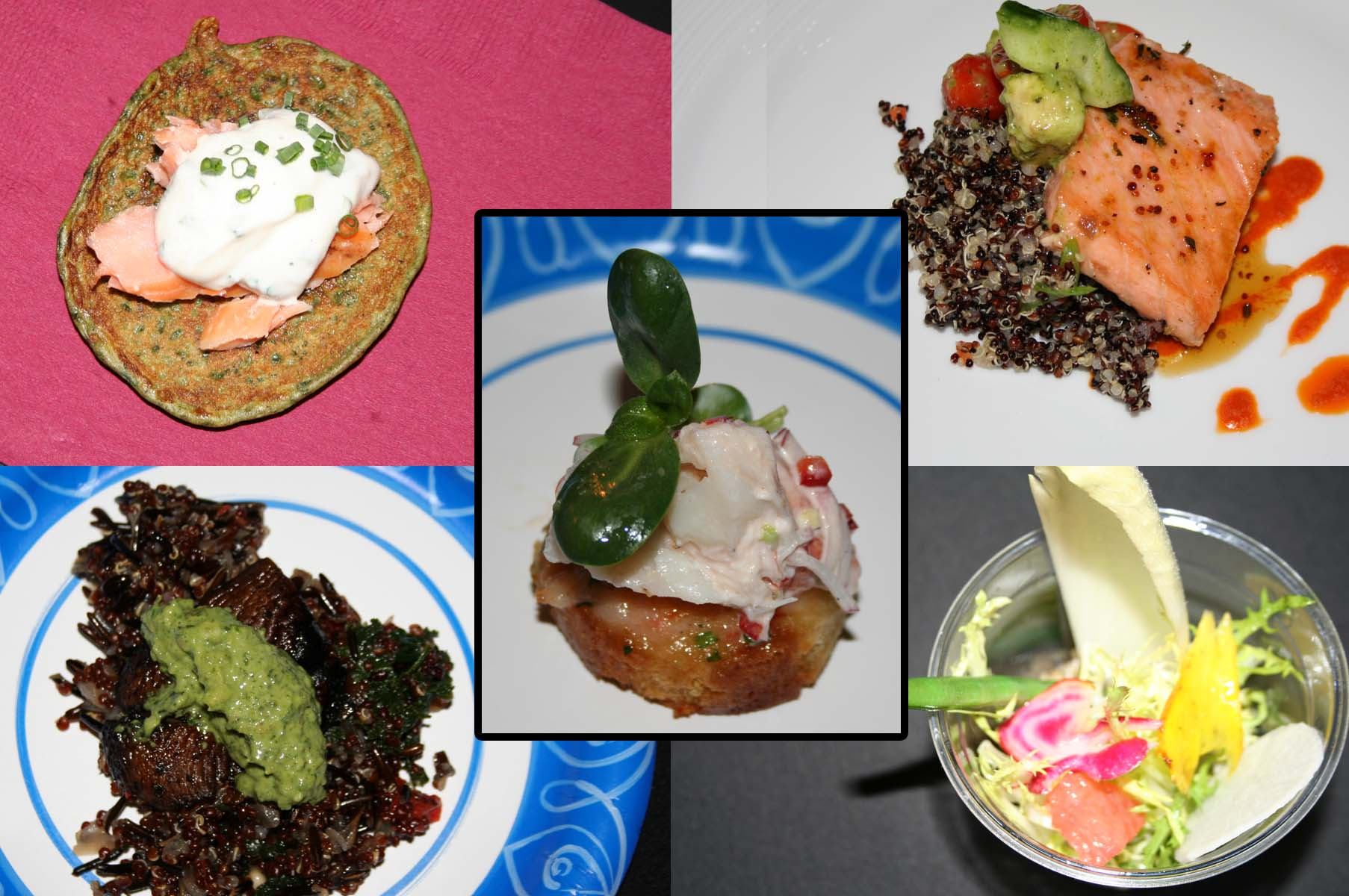 The dishes (clockwise from upper left): house-smoked salmon on Swiss chard pancake, maple-glazed salmon with quinoa,  crudité salad, red quinoa pilaf with grilled portabella mushroom and pumpkin seed pesto and the winner, lobster toast. (Photos: Mark Heckathorn/DC on Heels)