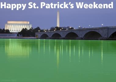 Happy St. Patrick's Weekend! The Potomac River runs green pas the Kennedy Center and Washington Monument. (Photo Ian Livingston/Washington Post. Illustration: Mark Heckathorn/DC on Heels)