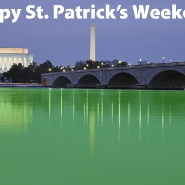 Happy St. Patrick's Weekend! The Potomac River runs green pas the Kennedy Center and Washington Monument. (Photo Ian Livingston/Washington Post. Illustration: Mark Heckathorn/DC on Heels)