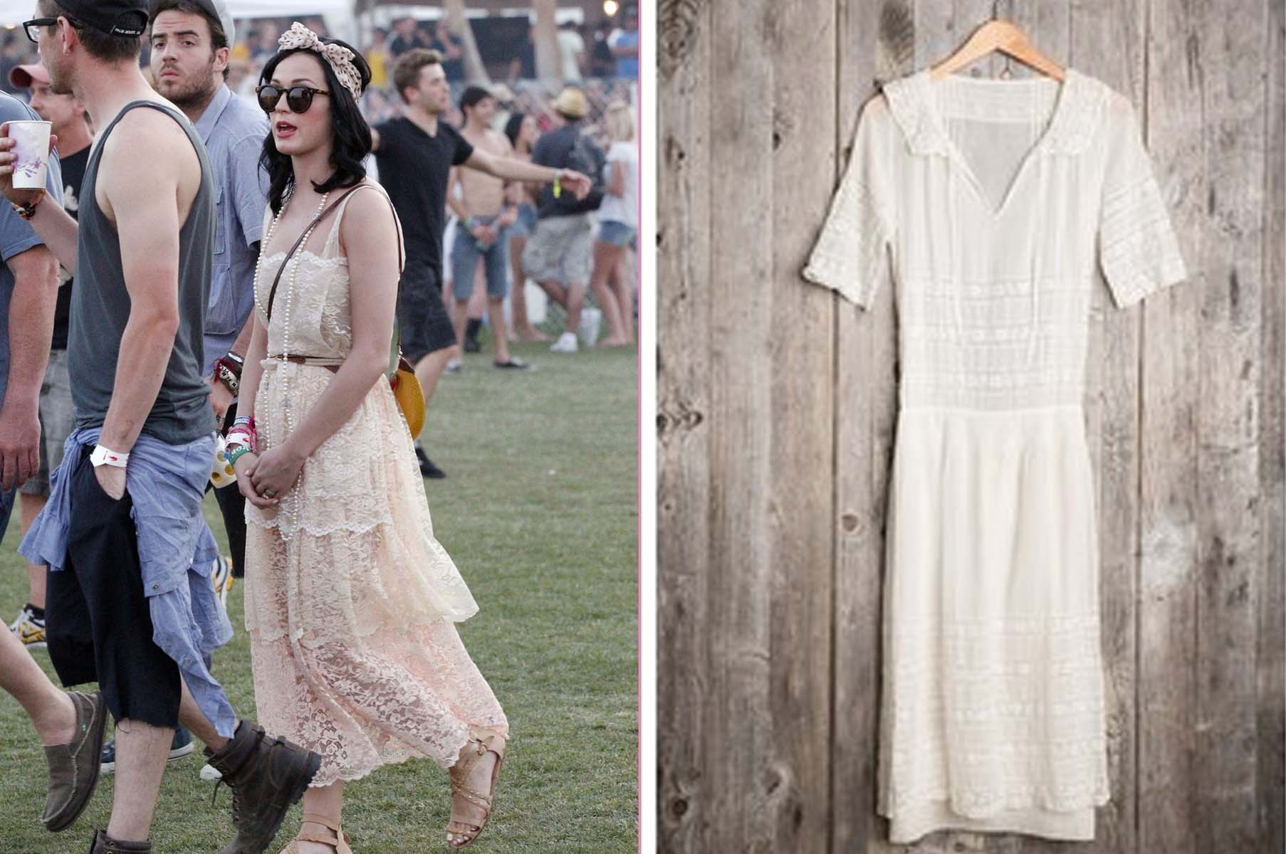 Katy Perry at Coachella in vintage dress (left),  Urban Renewal vintage lace dress (Photos: Fame Pictures, Urban Outfitters)