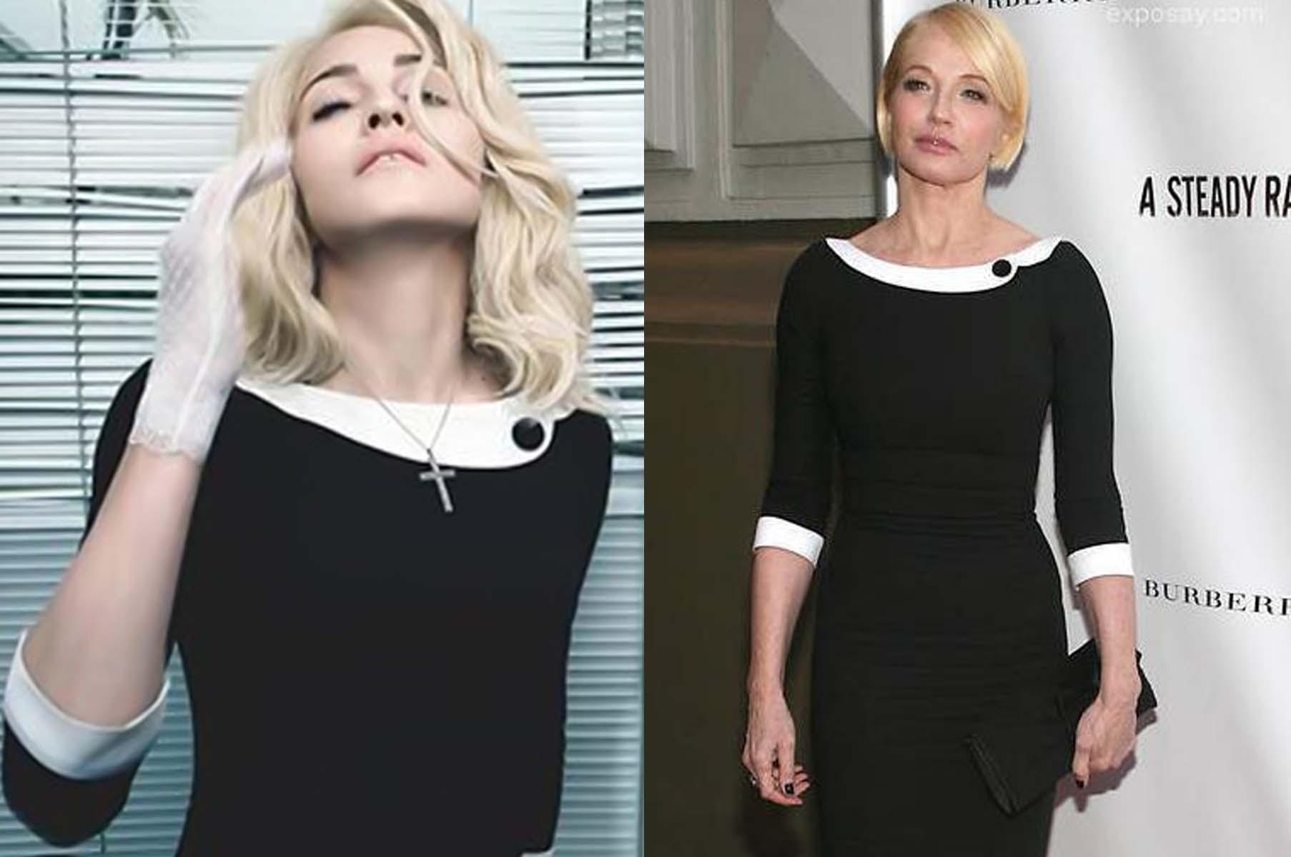 "Madonna (left) and Ellen Barkin in L'Wren Scott's iconic ""Headmistress"" dress. (Photos: Culture Houston and UK Telegraph)"