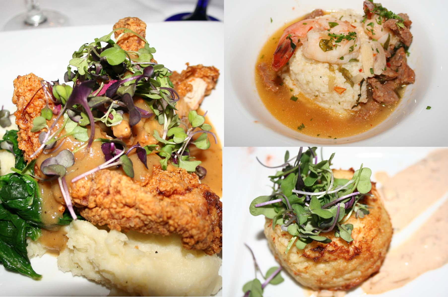 "Main dishes included ""Your Mama's Fried Chicken"" (left), southern style shrimp and grits (top) and Maryland crab cake. (Photos: Mark Heckathorn/DC on Heels)"