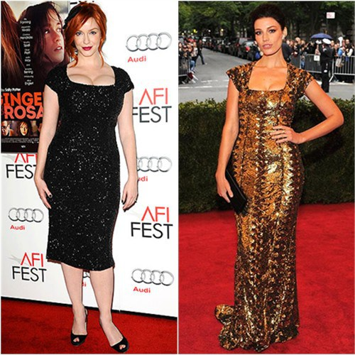 Mad Men stars Christina Hendricks and Jessica Pare wear L'Wren Scott to red carpet events. (Photo: Democracy Diva)