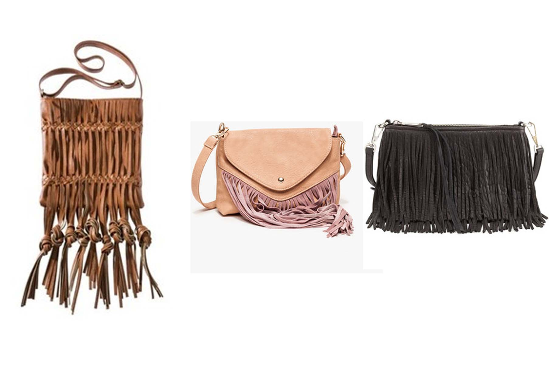Fringe Mossimo bag from Target $30 (left), fringe cross body $88 and Rebecca Minkoff Finn fringe leather crossbody $195 (Photos: Target, NeedSupply and Neiman Marcus)