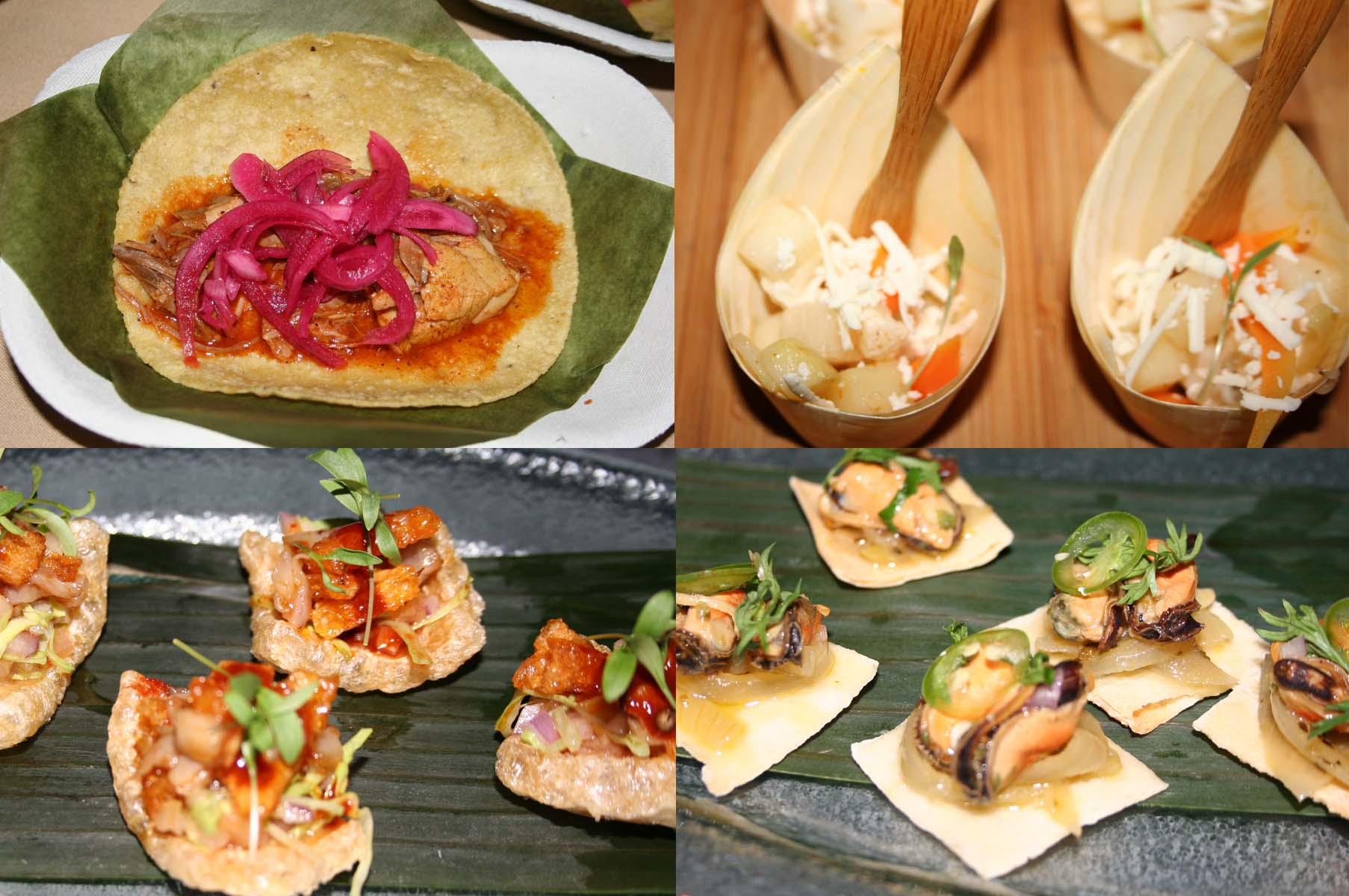 Special dishes include (clockwise from top left) whole baby pig cochinita tacos, encruditos, mejillones escabeche and cueritos. (Photos: Mark Heckathorn/DC on Heels)