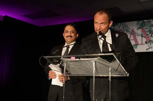 Vikram Sunderam (right) of Rasika, the 2012 best chef winner, and Fabio Trabocchi of Fiola, the 2013 best chef winner, at last year's gala. (Photo: R. Lopez/Eater DC)
