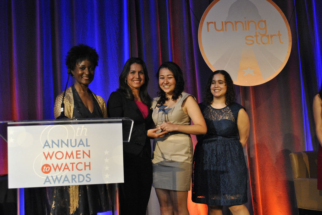 Rep. Tulsi Gabbard, D-Hawaii, (second from left) presents Brittany Amano (second from right), 16, with the Emerging Young Leader Award. (Photo: Tulsi Gabbard)