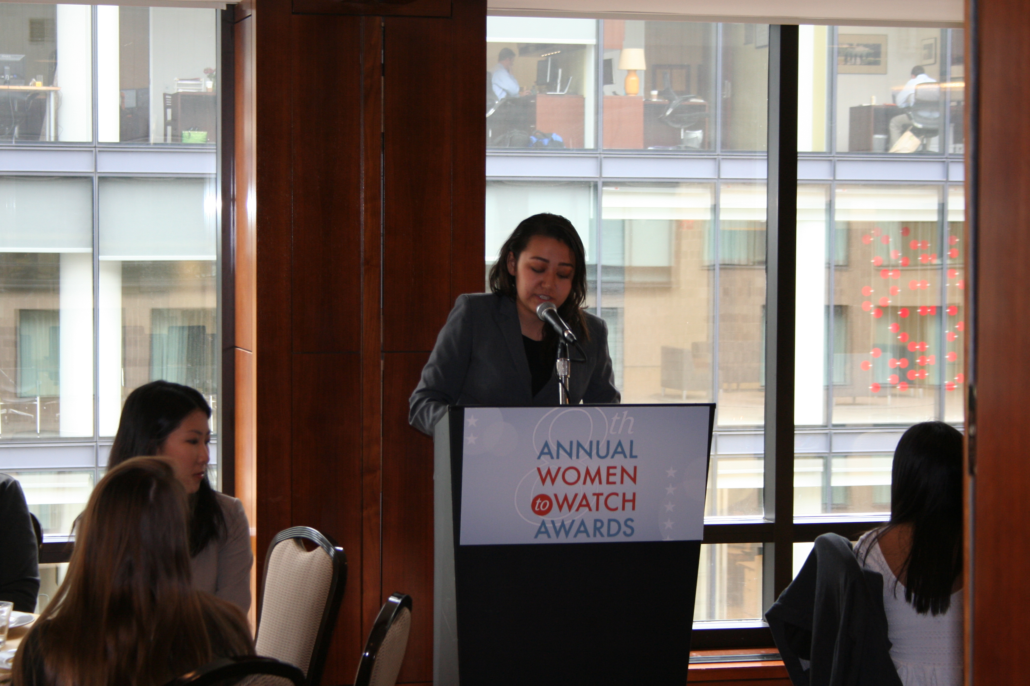 Amano addresses about 100 DMV area girls at a luncheon Wednesday. (Photo: Mark Heckathorn/DC on Heels)