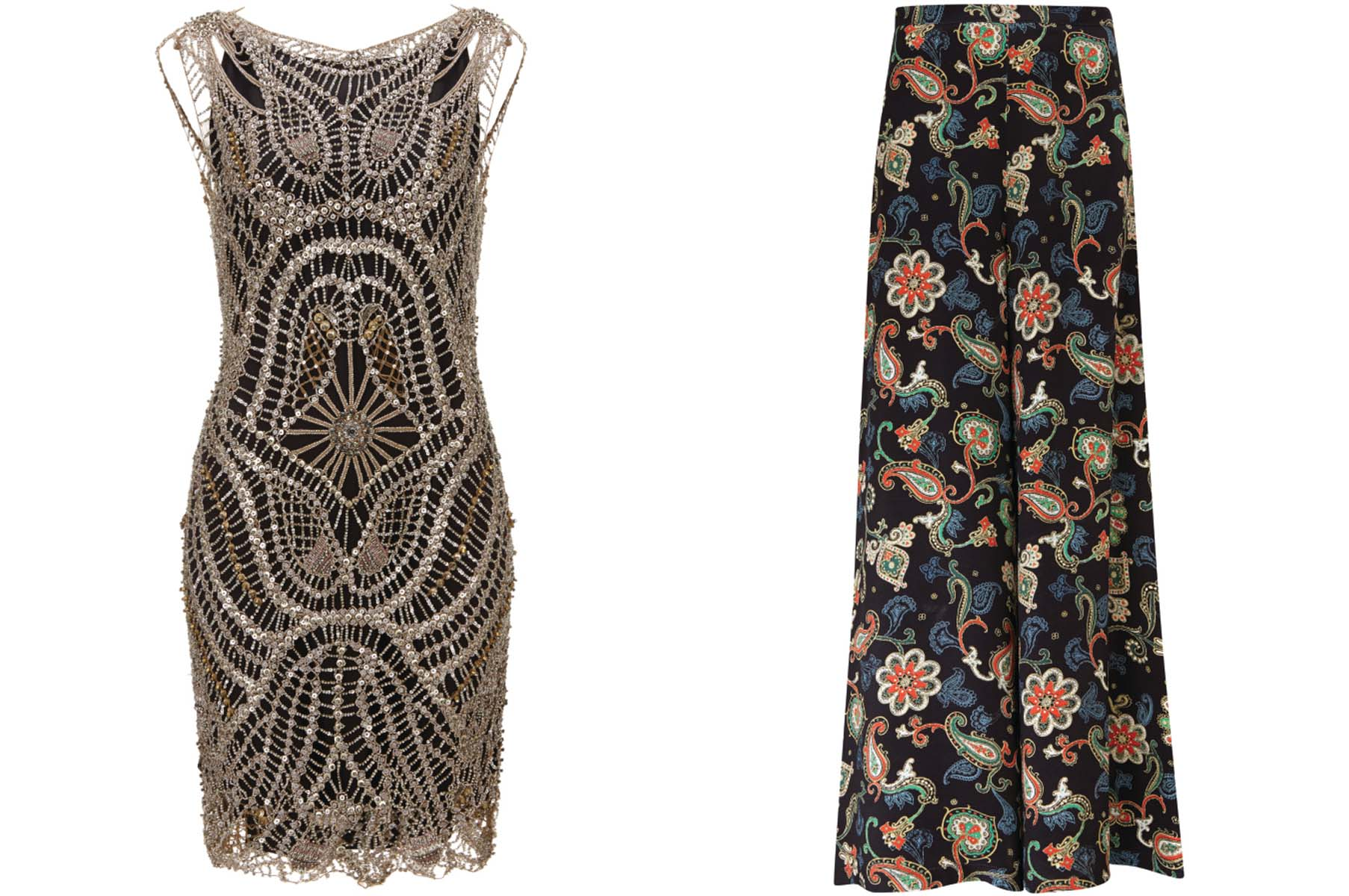 Kate Moss for Topshop art deco shift dress (left) and flare pants. (Photos: New York Observer)