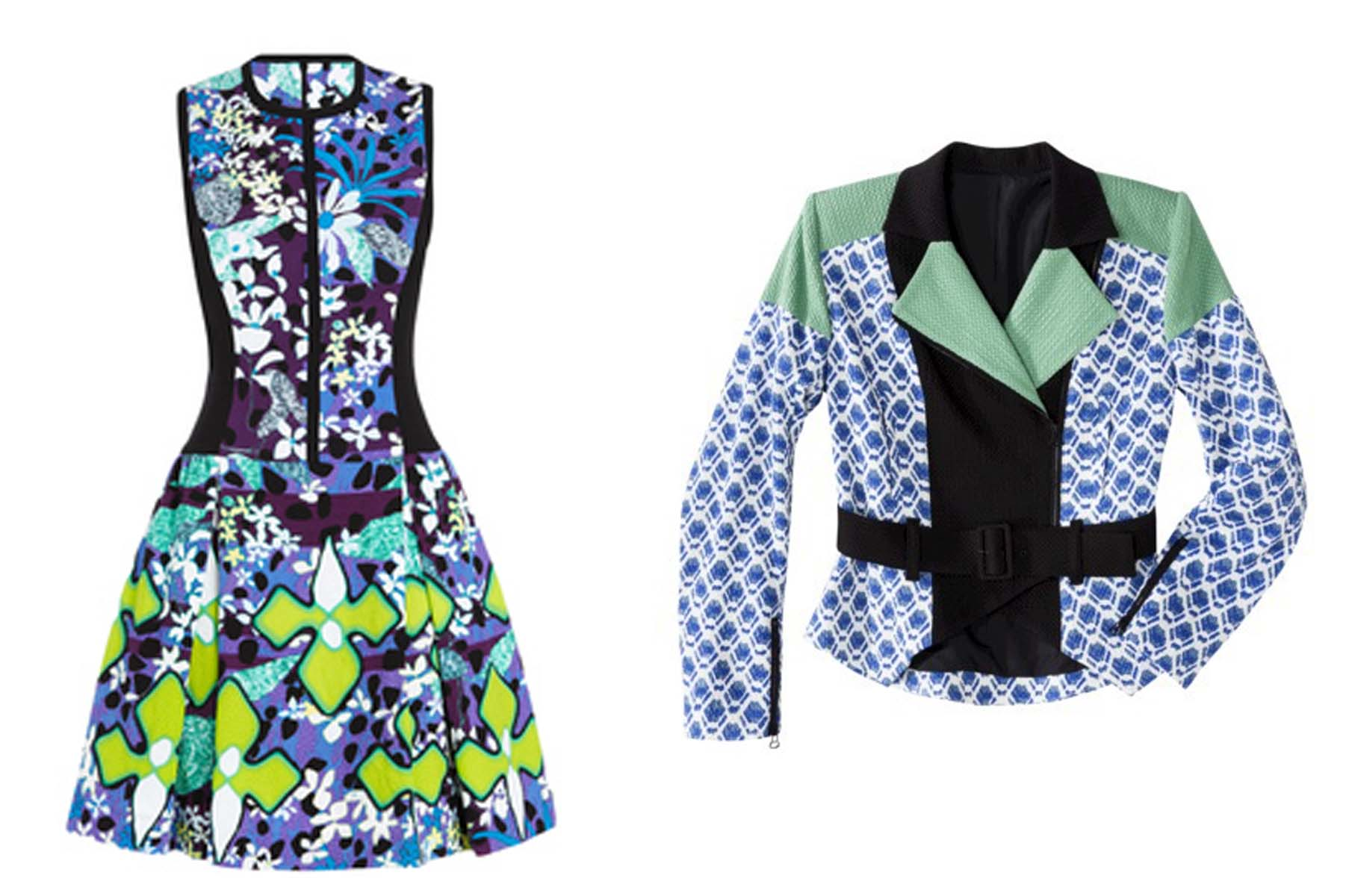 Peter Pilotto for Target floral print dress (left) and moto jacket blue netting print(Photos: Target)