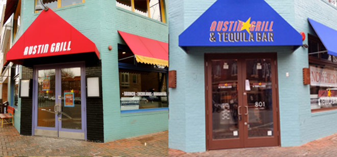 The Austin Grill in Old Town Alexandria before (left) and after (right). (Photos: Drew Hansan and Red Brick Town)