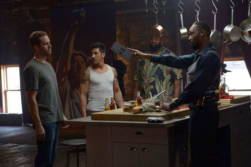 "Paul Walker, David Dupree and RZA star in ""Brick Mainsons."" (Photo: Philippe Bosse/EuropaCorp)"