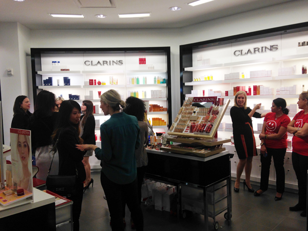 The Clarins counter at Bloomingdales, Tysons Corner (Photo: Lia Phipps/DC on Heels)
