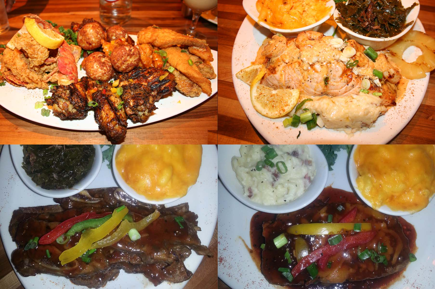 Entrees include the Chesapeake Platter (clockwise from top left), the Creole salmon, Mom's meatload and BBQ beef short ribs. (Photos: Mark Heckathorn/DC on Heels)