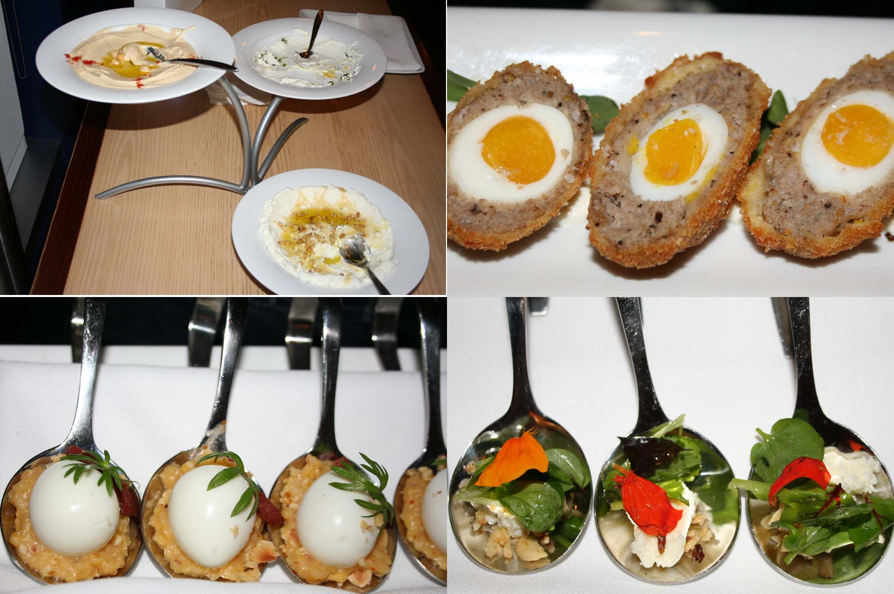 Zaytinya's special Greek Easter menu (clockwise from top left) includes lavash chips with hummus, labneh and tzatzik, a Greek egg, marthoulosalata and kacamak. (Photos: Mark Heckathorn/DC on Heels)