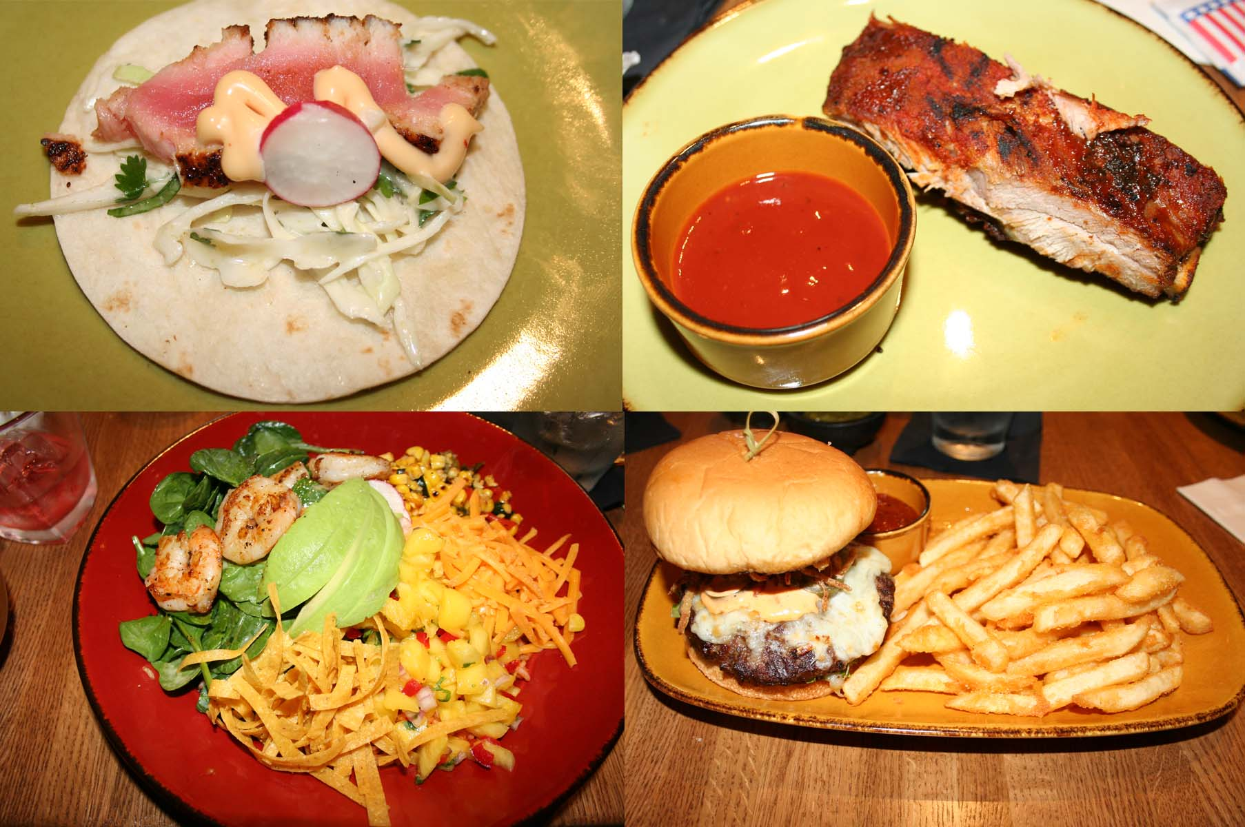 The new menu includes (clockwise from top left) Ahi tuna tacos with cabbage slaw, lime vinaigrette, shaved radish and chipotle mayo; slow-smoked St. Louis ribs with house made barbeque sauce; the tumbleweed burger with Texas Pete mayo, onion straws, pickled jalapenos, cheddar jack cheese, lettuce, tomato, and week killer sauce; and shrimp fiesta salad with red rice, black beans, baby spinach, mango salsa, roasted corn, avocado, sliced radish, crispy tortilla strips, cheddar cheese, cilantro lime creme, grilled shrimp and margarita salsa. (Photo: Mark Heckathorn/DC on Heels)