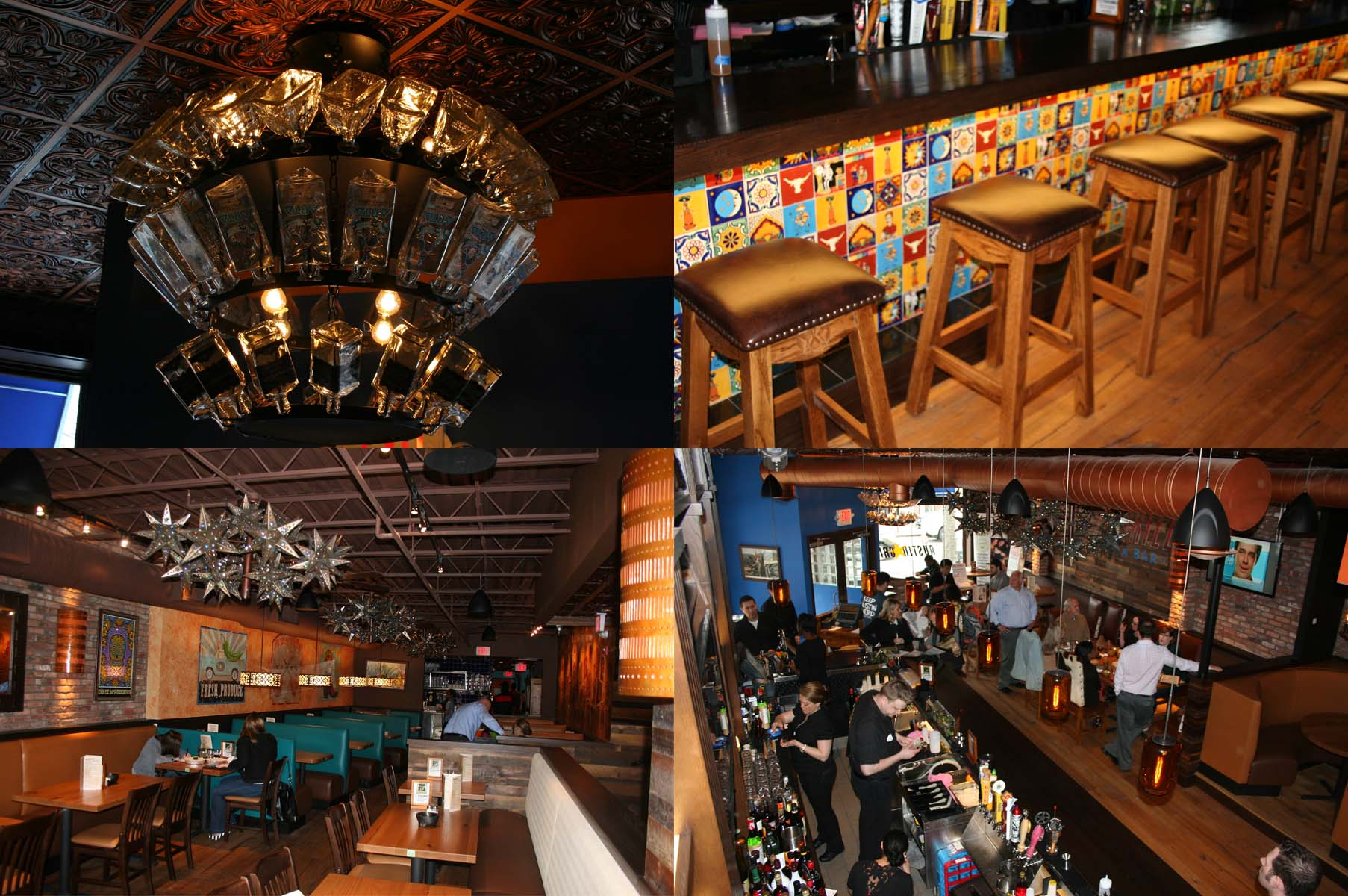 The $1.5 million refresh includes new tequila bottle chandeliers (clockwise from top left), a bigger tiled bar, the downstairs dining room where tables have replaced booths and the upstairs dining room. (Photo: Mark Heckathorn/DC on Heels)