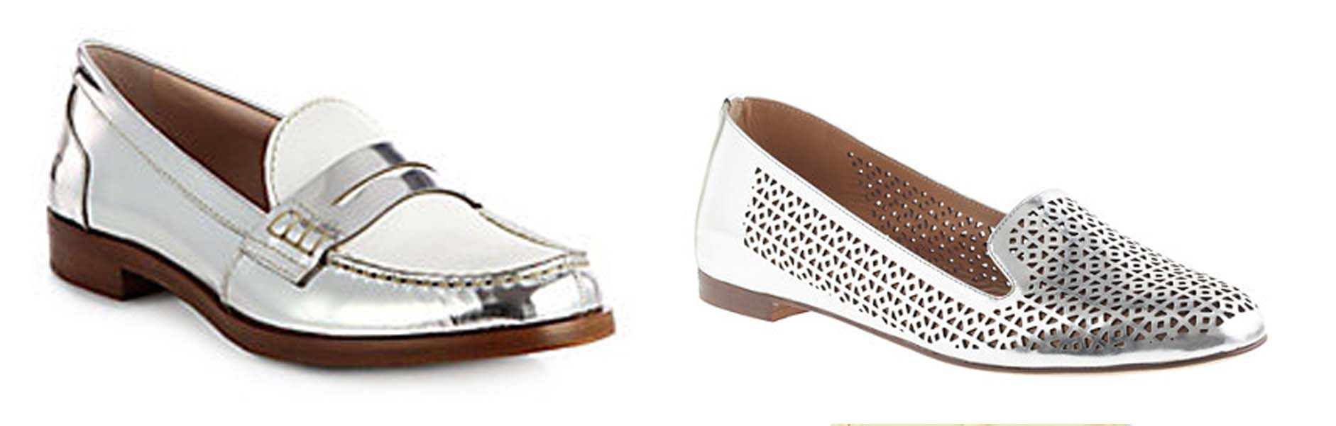 Miu Miu Metalic leather loafers (left) and J. Crew Cleo perforated mirror metallic loafers (Photos: Saks Fifth Avenue and J. Crew)