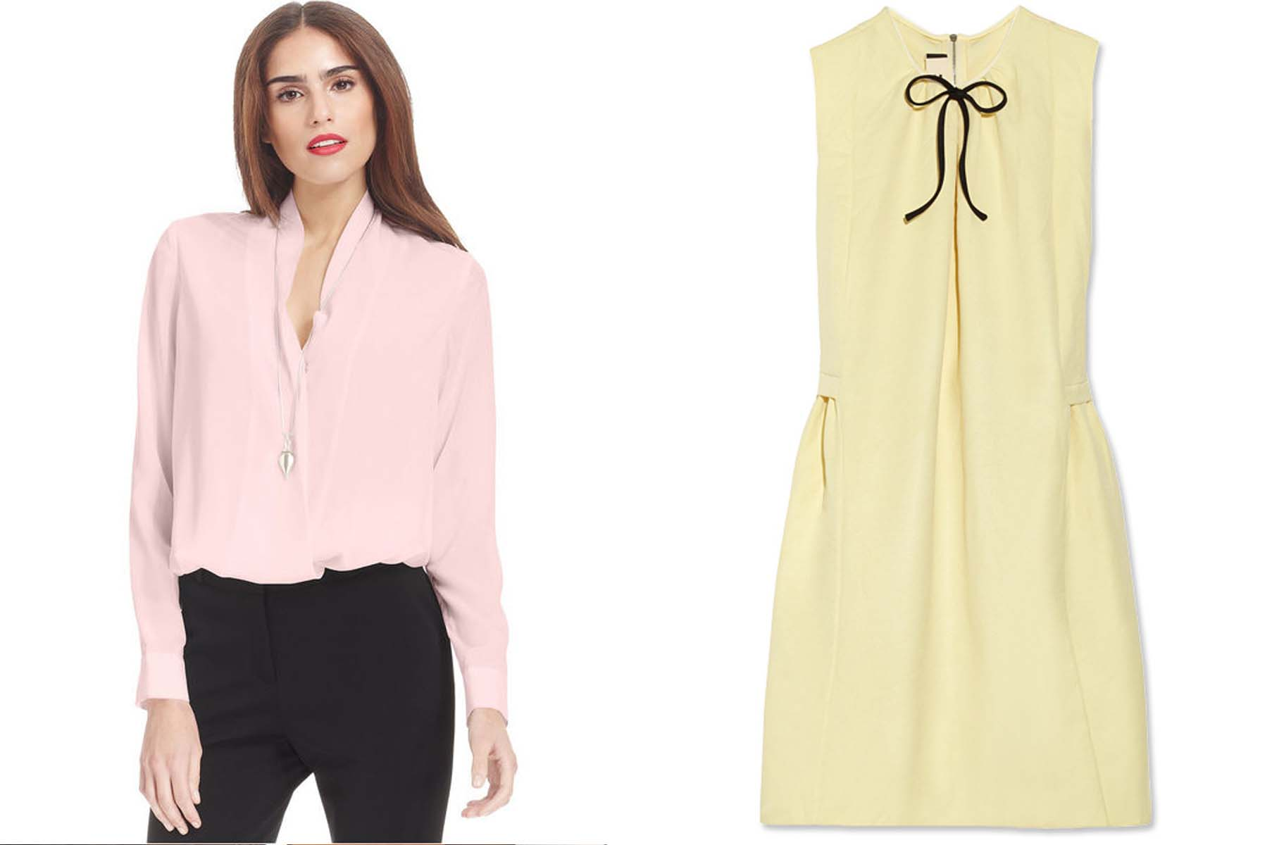 Bar III pastel pink blouse from Macy's (left) and Marni dress (right)  (Photos: Macy's and InStyle)