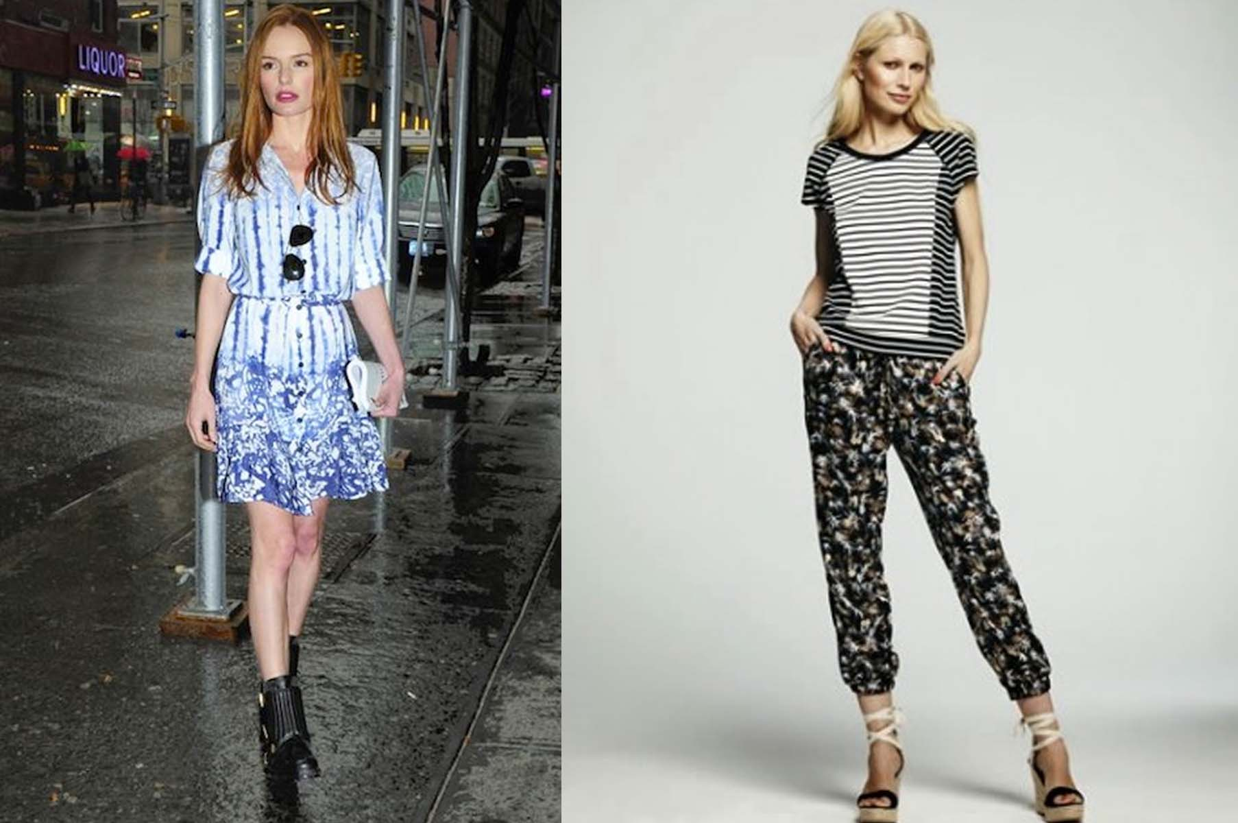 Kate Bosworth in Peter Som for DesigNation dress. $74 (left), and charmeuse soft pants.  $50, and striped raglan sweatshirt, $50. (Photos: Joonbug and Kohl's)