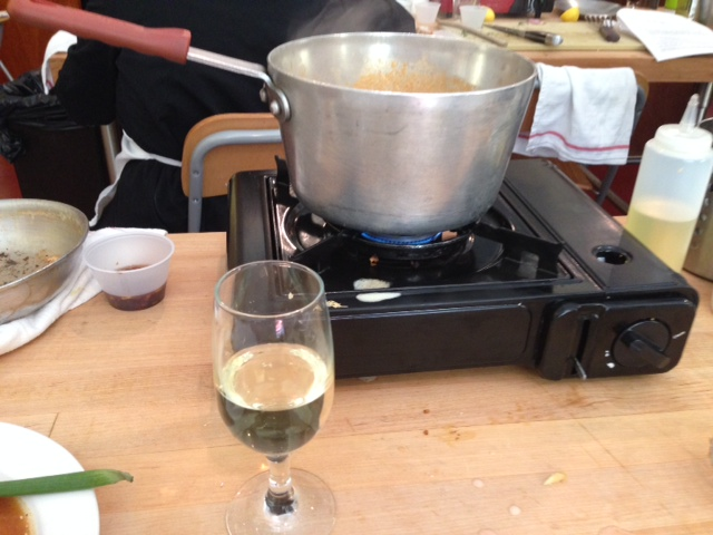 Sip some wine while waiting for the curry to boil. (Photo: Richard Barry/DC on Heels)