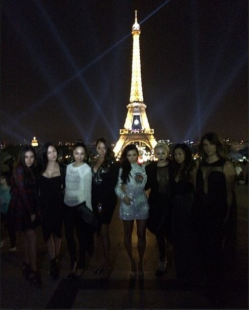 Kim Kardashian and BFFs head to a bachelorette party at the Eiffel Tower. (Photo: Kim Kardashian/Instagram)
