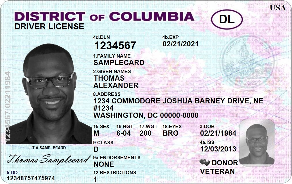 The new D.C. driver's license indicates an organ donor in the lower right corner. (Photo: D.C. Department of Motor Vehicles)