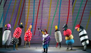 "Colorful birds in the Washington National Opera's performance of ""The Magic Flute."" (Photo: Washington National Opera)"