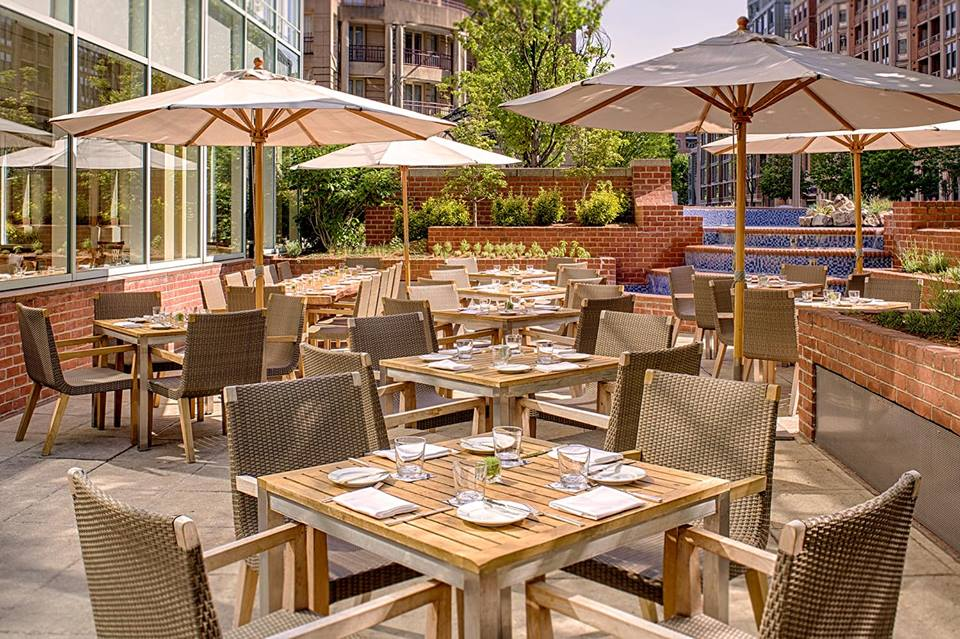 The Blue Duck Tavern's outdoor terrace where the chef's grow many of their own vegetables and herbs. (Photo: Park Hyatt Washington)