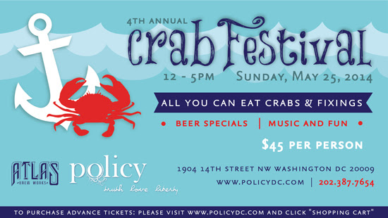 Check out Policy's 4th annual crab festival over Memorial Day weekend. (Graphic: Policy)