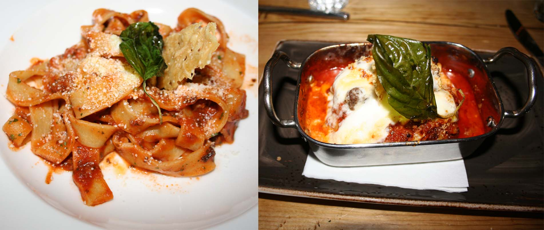 House-made pastas include pappardelle with a lamb ragu (left) and lasagna. (Photos: Mark Heckathorn/DC on Heels)