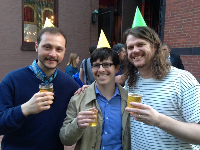 Joshua Hubner and Peter Jones (left to right), homebrewers who recreated Heurich's Pre-Prohibition Pilsner, with DC Brau co-founder Jeff Hancock (Photo: Richard Barry/ DC on Heels)
