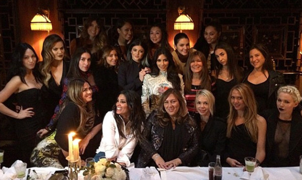 Kim Kardashian and her BFFs at dinner at the Salon Chinois inside the Hotel Costes. (Photo: Kim Kardashian/Instagram)