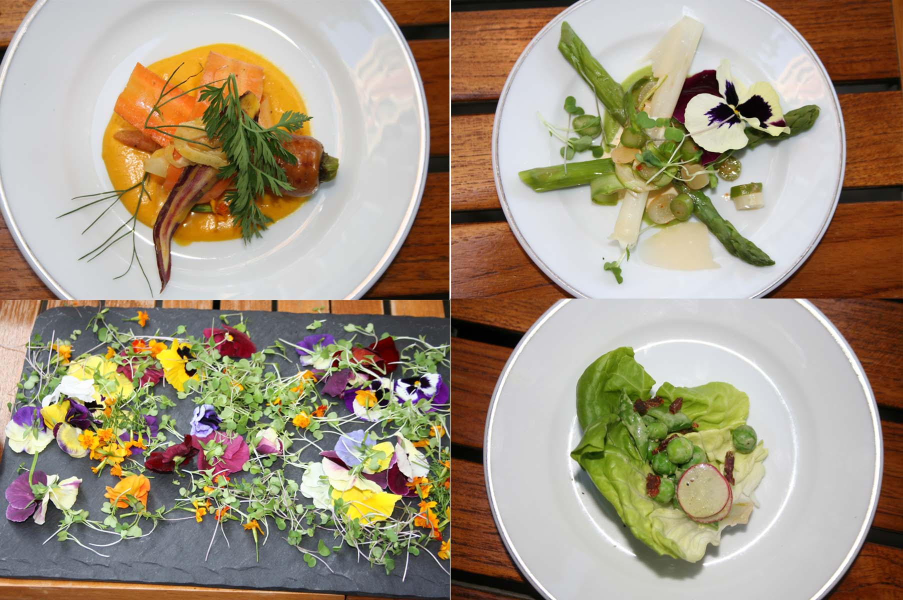 Spring salads include (clockwise from upper left) the baby carrot salad, asparagus salad and the baby wedge salad along with a slate of edible pansies and marigolds. (Photos: Mark Heckathorn/DC on Heels)