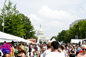 Visitor's to the Capital Pride Street Festival in 2013 fill Pennsylvania Avenue in front of the Capitol. (Photo: Tim Evanson/Flickr)