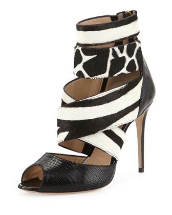 Paul Andrew Shirin animal-print calf hair sandal, black/white, $1,095 (Photo: Bergdorf Goodman)