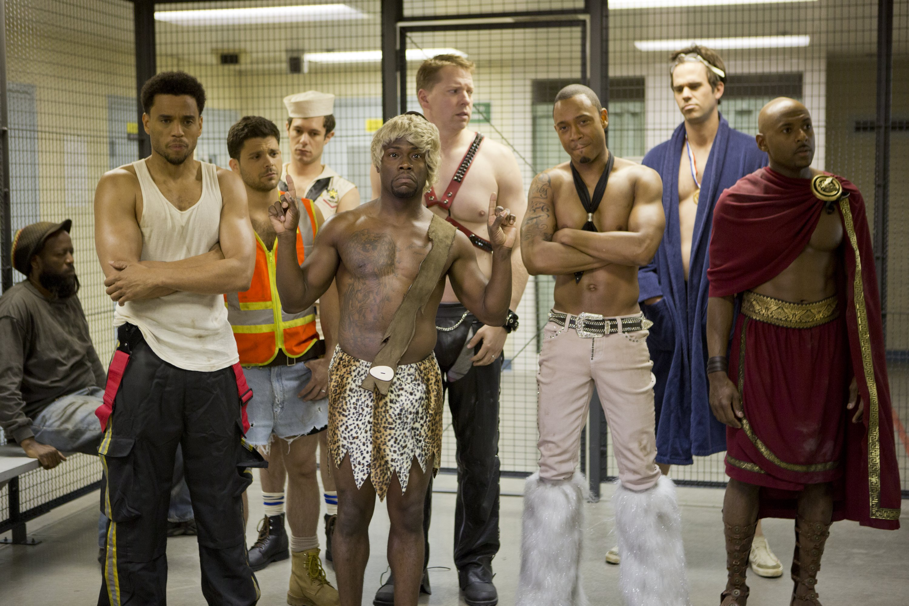 "Their antics at The Hustler Club land Dominic (Michael Ealy), Jeremy (Jerry Ferrara), Isaac (Adrian Brody), Cedric (Kevin Hart),  Bennett (Gary Owen), Michael (Terrence J), Terrell (David Walton) and Zeke (Romany Malco) in trouble in ""Think LIke a Man Too."" (Photo: Sony Pictures)"