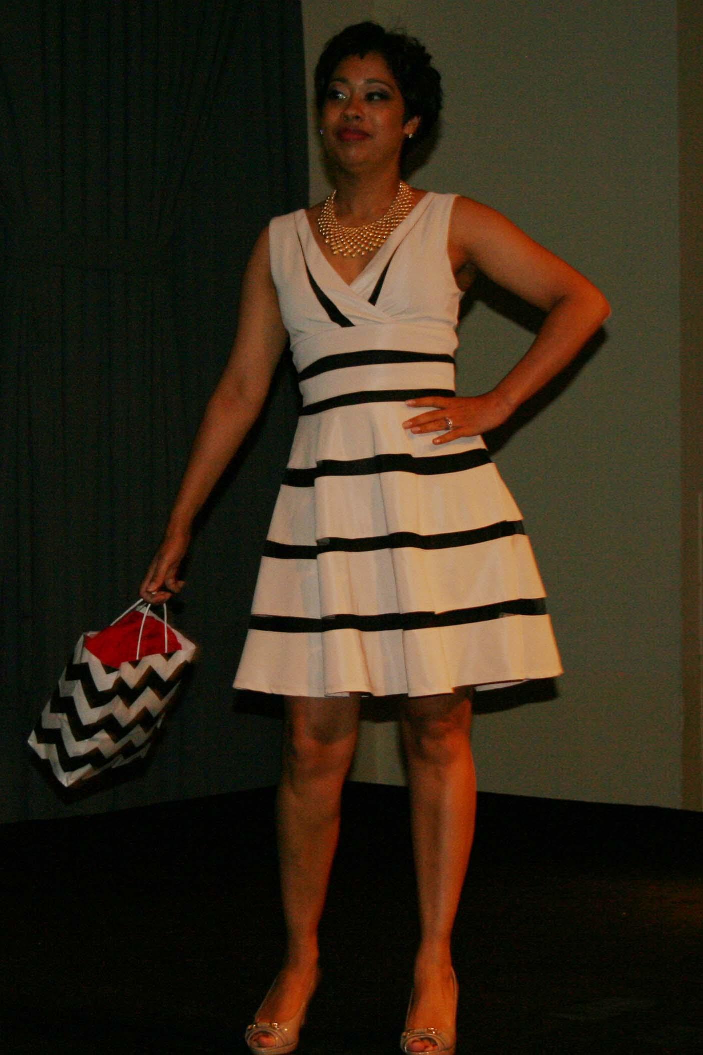 Sonya Gavankar models a black and cream striped dress by maker Ya. (Photo: Mark Heckathorn/DC on Heels)