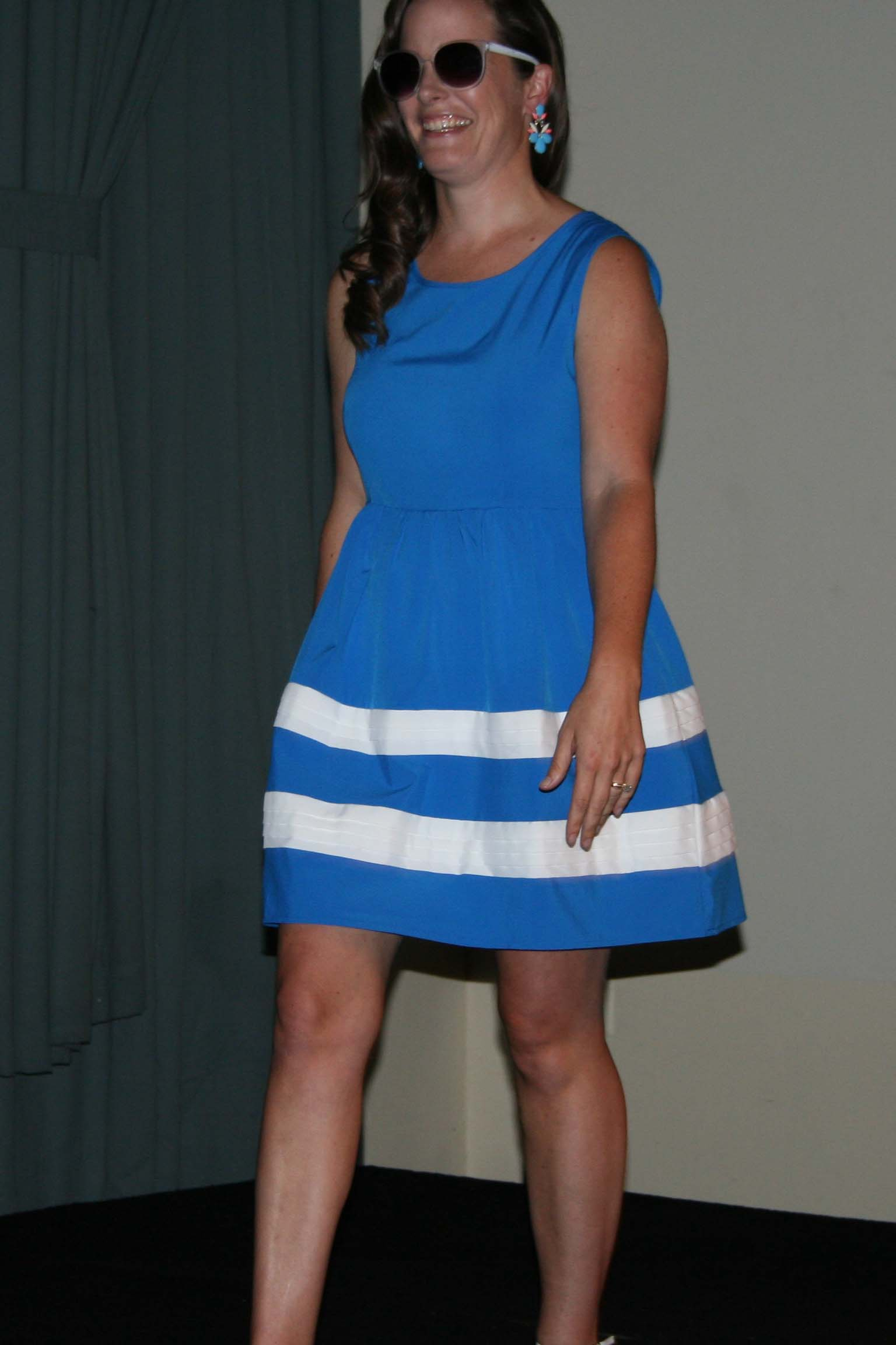 Brie Allis models a blue and white A-line dress by Ya. (Photo: Mark Heckathorn/DC on Heels)