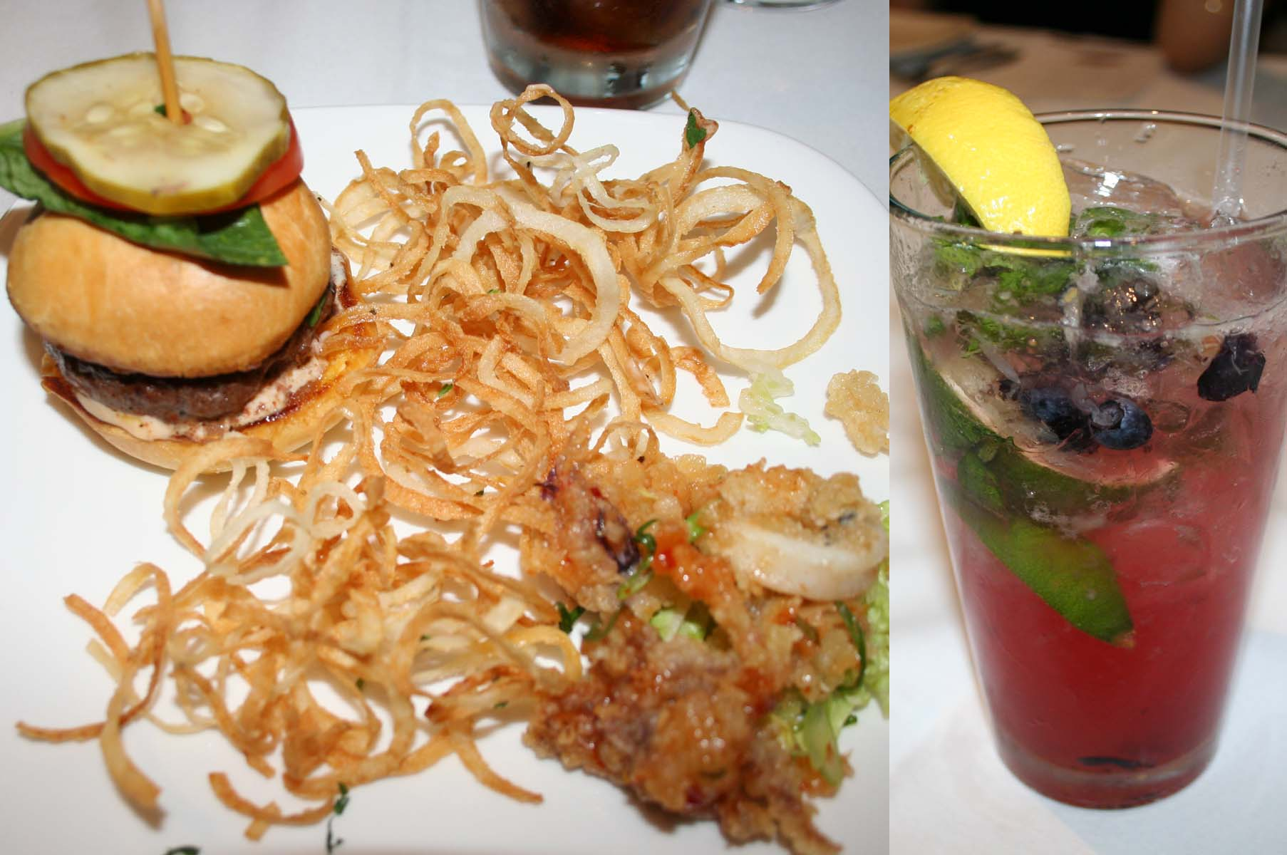 Happy hour at the bar features (from left) burger sliders, calamari and berry mango mojito. (Photos: Mark Heckathorn/DC on Heels)